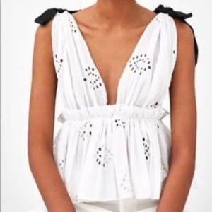 Zara Eyelet Plunge Shoulder Bow Top
